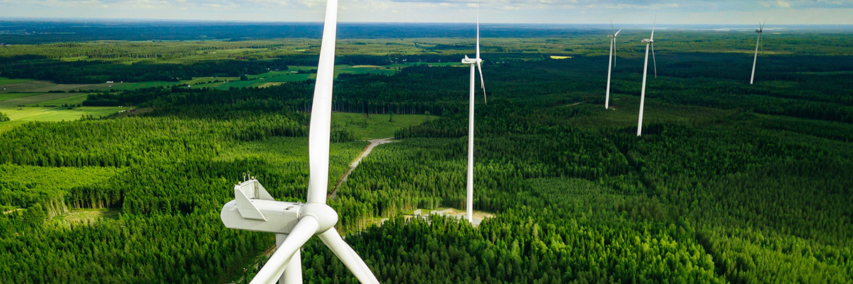 An aerial shot of wind turbines