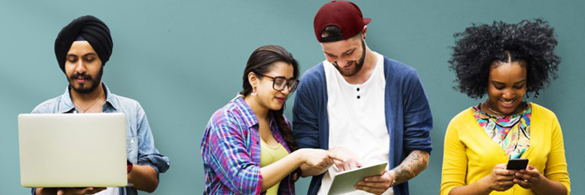 Students on their mobile devices